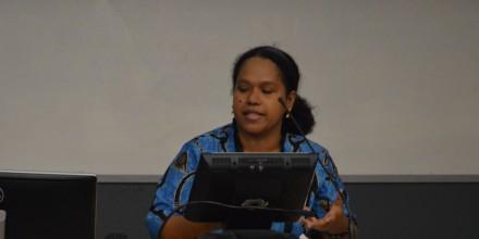 Elvira Rumkabu presenting at SOTP2016 conference. Image SSGM