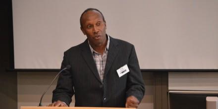 Peter Bumseng presenting at SOTP2016 conference. Image SSGM