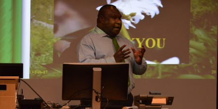 Dr Nelson Simbiken presenting at SSGM seminar series. Image SSGM