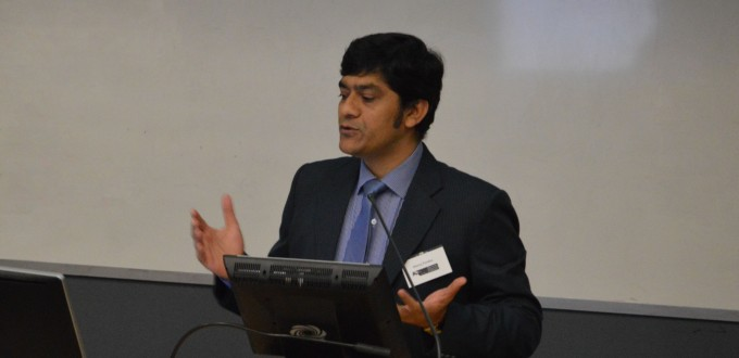 Manoj Pandey presenting during State of the Economy and Service Delivery in Papua New Guinea session at SOTP2016. Image SSGM