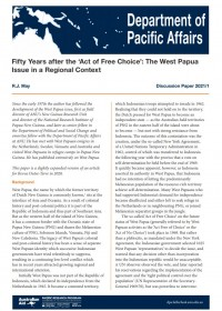 Cover of Discussion Paper 2021/01 Fifty Years after the 'Act of Free Choice': The West Papua Issue in a Regional Context