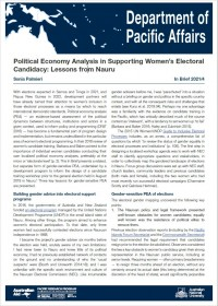 Cover of In Brief 2021/04 Political Economy Analysis in Supporting Women's Electoral Candidacy: Lessons from Nauru