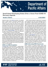 Cover of In Brief 2021/08 Small Island Developing States Drive a Green Post-COVID-19 Recovery Agenda