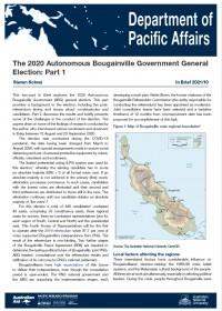 Cover of IB 2021/10 The 2020 Autonomous Bougainville Government General Election: Part 1
