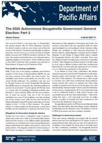 Cover of IB 2021/11 The 2020 Autonomous Bougainville Government General Election: Part 2