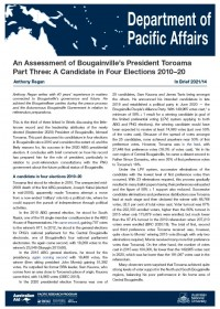 Cover of In Brief 2021/14 An Assessment of Bougainville's President Toroama Part Three: A Candidate in Four Elections 2010–20