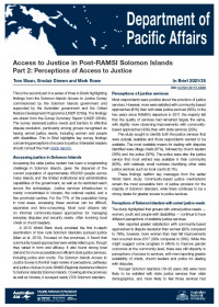 Cover of In Brief 2021/25 Access to Justice in Post-RAMSI Solomon Islands Part 2: Perceptions of Access to Justice